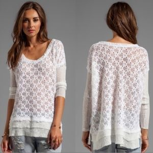 Free People White Crochet Layered Sweater